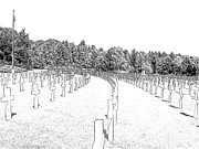 Cemetery Drawings - Luxembourg World War II American Cemetery  by Joseph Hendrix