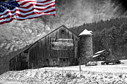 Barn And Silo Prints - Made In America Red White And Blue Print by John Stephens