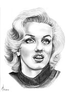 Famous People Drawings - Marilyn Monroe by Murphy Elliott