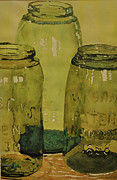 Mason Jars Painting Framed Prints - Masons Framed Print by Michael Brothers