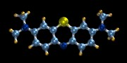 Psychiatry Art - Methylene Blue, Molecular Model by Dr Mark J. Winter