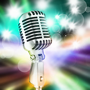 Studio Lighting Prints - Microphone On Stage Print by Setsiri Silapasuwanchai