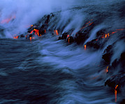 Entering Prints - Molten Lava Flowing Into The Ocean Print by G. Brad Lewis