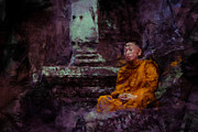 Angkor Paintings - Monk at Angkor by Stefan Olivier