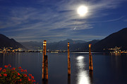 Sea Moon Full Moon Framed Prints - Moon light over an alpine lake Framed Print by Mats Silvan