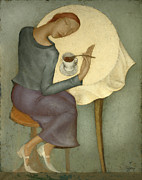 Modern Painting Originals - Morning Coffee by Nicolay  Reznichenko