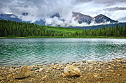 Pyramid Mountain Framed Prints - Mountain lake in Jasper National Park Framed Print by Elena Elisseeva