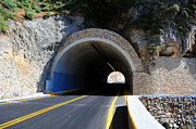 Yellow Line Framed Prints - Mountain tunnel. Framed Print by Fernando Barozza