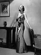 Striped Dress Art - Myrna Loy, Mgm Portrait By Clarence by Everett