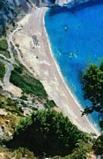 Paint Paintings - Myrtos beach in Kefallonia island by George Atsametakis