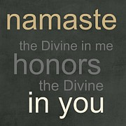 Brown Mixed Media Posters - Namaste Poster by Linda Woods