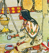 Boiling Herbs Prints - Native American Medicine Print by Science Source