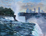 Waterfalls Painting Framed Prints - Niagara Falls Framed Print by Ylli Haruni