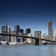 Landscapes Posters - NYC Brooklyn Bridge Poster by Nina Papiorek