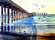 Sea Gulls Prints - Ocean Beach Pier Print by John YATO