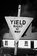 Old Country Roads Framed Prints - Old Irish Red Triangle Yield Right Of Way Sign In Rural Ireland Framed Print by Joe Fox