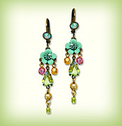 Christmas Jewelry - Orly Zeelon The Tear Drop Crystal Floral Earrings by Orly Zeelon