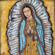 Our Lady Painting Framed Prints - Our Lady of Guadalupe Framed Print by Rain Ririn