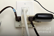 Electrical Plug Prints - Overloaded Electrical Outlet Print by Photo Researchers, Inc.