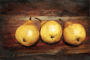 Food  Originals - 3 Pears on a Wooden Table by Julius Reque