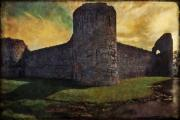 Sussex Digital Art Prints - Pevensey Castle Ruins Print by Chris Lord