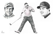 Sports Drawing Framed Prints - Phil Mickelson Framed Print by Murphy Elliott