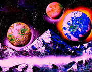 Outer Space Painting Posters - 3 Planets 4653 E1 Poster by Greg Moores