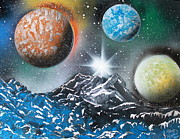 Outer Space Painting Posters - 3 Planets 4687 Poster by Greg Moores