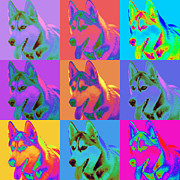 Huskies Digital Art Posters - Pop Art Siberian Husky Poster by Renae Frankz