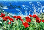 Poppies Paintings - Poppy flowers by George Atsametakis