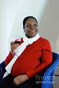 Wine Woman  Prints - Pregnant Woman Drinking Wine Print by Photo Researchers