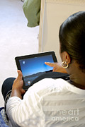 Touch Screen Posters - Pregnant Woman Using Ipad Poster by Photo Researchers