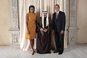 Arabs Photos - President And Michelle Obama Pose by Everett