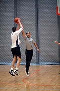 Basketball Sports Prints - President Barack Obama Plays Basketball Print by Everett