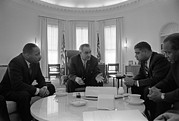 Lyndon Art - President Lyndon Johnson Meets by Everett