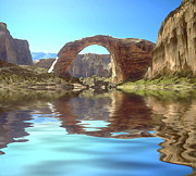 Desert Lake Digital Art Posters - Rainbow Bridge Poster by Jerry McElroy