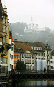 Europe Digital Art Metal Prints - Rainy Day in Lucerne Metal Print by Linda  Parker