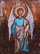 Healing Posters Painting Metal Prints - Raphael Archangel Metal Print by Pristine Cartera Turkus
