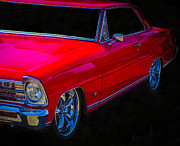Tricked-out Cars Posters - Real Red Nova SS Poster by Chuck Re