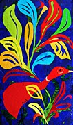 Folk Art Mixed Media Posters - Red Duck Poster by Sarah Loft