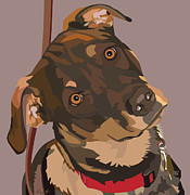 Brindle Digital Art Prints - Red Print by Kris Hackleman