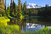 Mt Rainier Photos - #3 Reflection Lake near Mt Rainier by Jack Moskovita