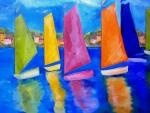 Sail Boats Painting Posters - Reflections of Tortola Poster by Patti Schermerhorn