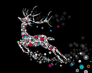 Drawn Mixed Media Prints - Reindeer design by snowflakes Print by Setsiri Silapasuwanchai