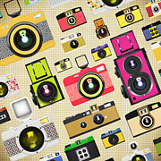 Manual Digital Art Framed Prints - Retro Camera Pattern Framed Print by Setsiri Silapasuwanchai