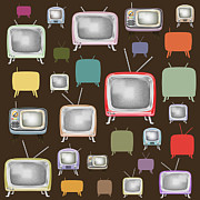 Greeting Digital Art Metal Prints - retro TV pattern  Metal Print by Setsiri Silapasuwanchai