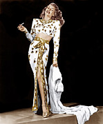 Slit Dress Framed Prints - Rita Hayworth, 1940s Framed Print by Everett