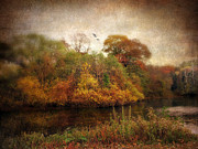 Autumn Landscape Digital Art - Riverbank by Jessica Jenney