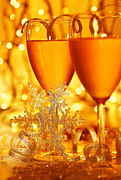 Sparkling Wine Prints - Romantic holiday celebration Print by Anna Omelchenko