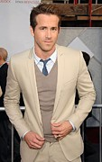 V-neck Sweater Prints - Ryan Reynolds At Arrivals For The Print by Everett